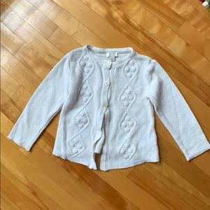 3/$20 Children 's place White cardigan 4Y
